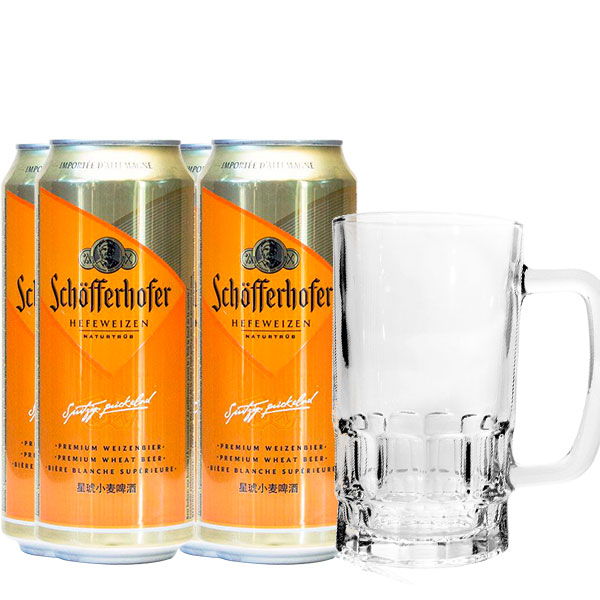 Schofferhofer 4latas y vaso chop 500 ml