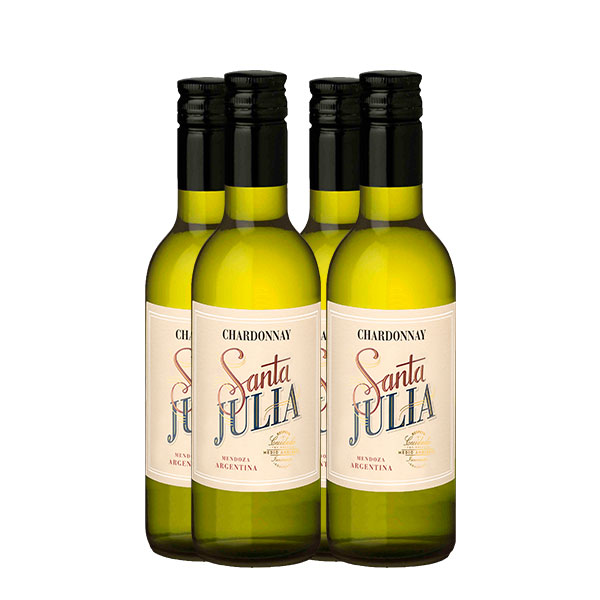 santa julia chardonnay 187 ml x 4 botellas