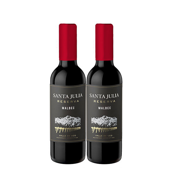santa julia reserva malbec 375 ml x 2 botellas