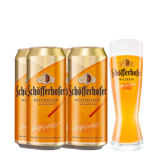 Schofferhofer 4latas y vaso 500 ml
