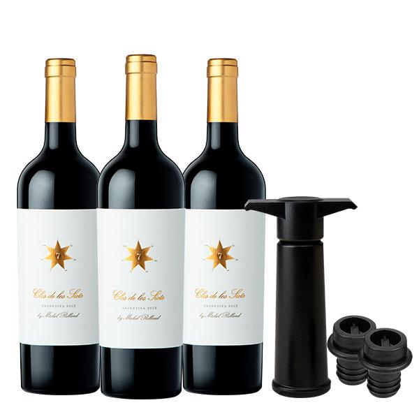 clos de los siete x 3 botellas wine saver 1