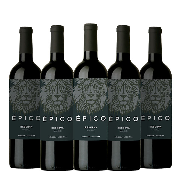 epico reserva malbec 750 ml x 5 botellas