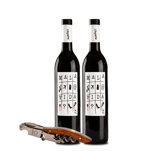 ARRAEZ MalaVida Tinto x 2 botellas y sacacorchos