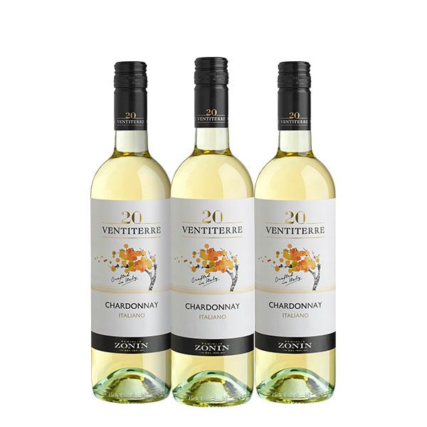 zonin ventiterre chardonnay x 3 botellas