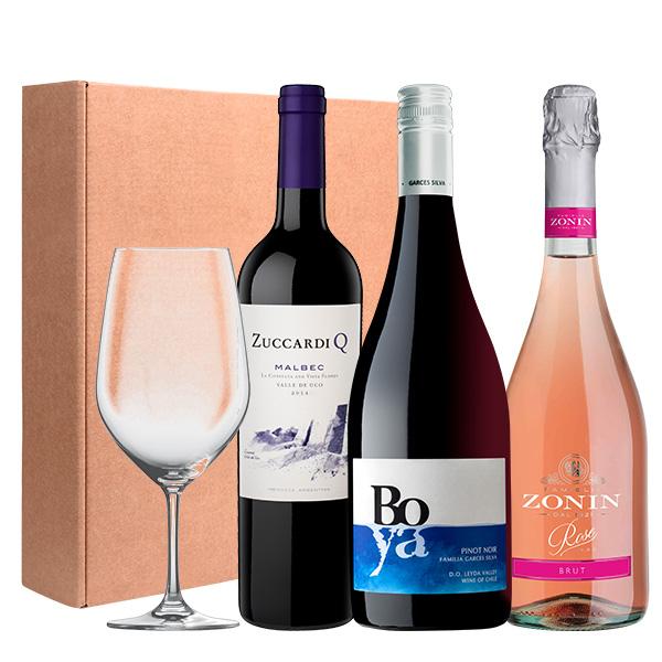 Gift Box Zuccardi Q Malbec Boya Pinot Noir Zonin Rosé Copa de Cristal