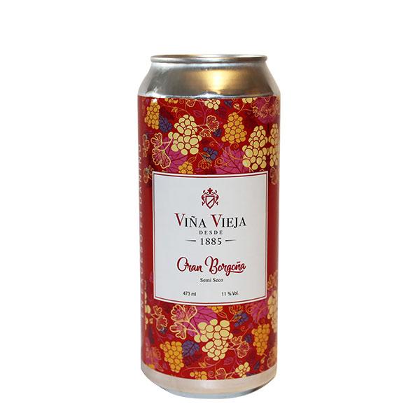 Vino Viña Vieja Gran Borgoña Semi Seco lata 473 ml