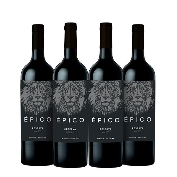 epico malbec reserva 750 ml x 4 botellas