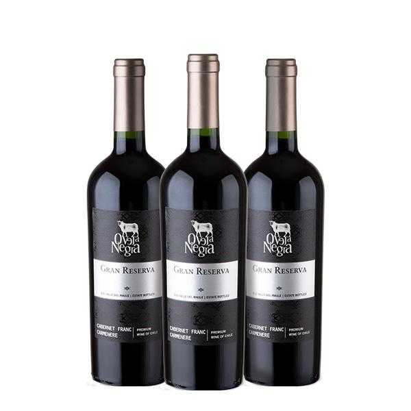 Oveja Negra Gran Reserva Cabernet Franc Carmenere 750 ml x 3 botellas