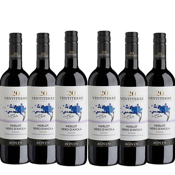 Zonin 20 Ventiterre Merlot Nero DAvola 750 ml x 6 botellas 1