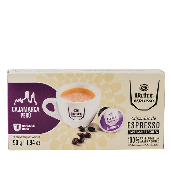 Britt Espresso Cajamarca Peru 50 gr 10 capsulas