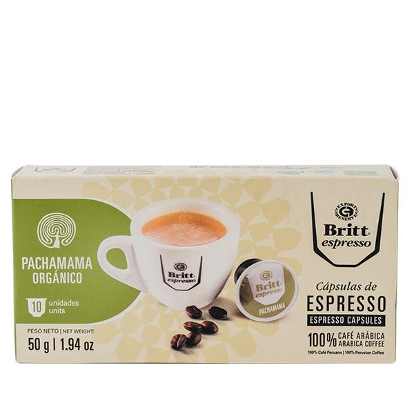 Britt Espresso Pachamama Organico 50 gr 10 capsulas