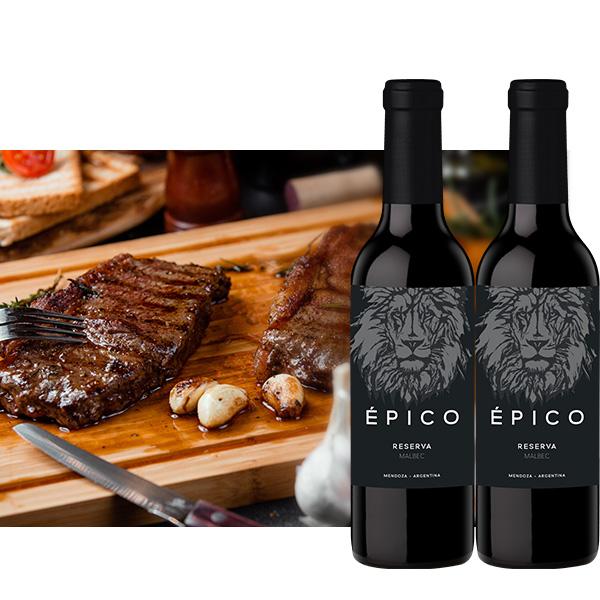 Epico Malbec Reserva 375 ml x 2 botellas 2 bife angosto 1