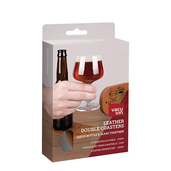 Vacuvin posacopas y botella de cuero set x 6 para cerveza